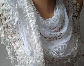 White Scarf Cotton Scarf Shawl Gift for her Spring Summer Scarf Fashion Accessories Women Trending Item