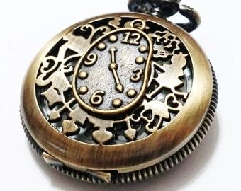 Alice in Wonderland Backwards Clock Pocket Watch - Clock Pendant with Alice adventure Pocket Watch Necklace