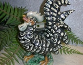 Black and White Chicken Pottery Wall Pocket Planter