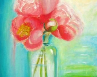 Peony Painting, Original Artwork, Original Watercolor, Peony Art, Peony Flowers, Mason Jar Painting, Mason Jar Art,