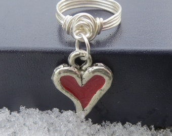 Affordable Valentine's Day Handmade Silver Red Enamel Love Heart Midi Knuckle Charm Ring