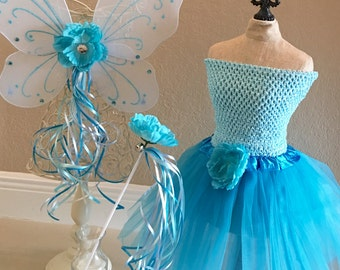 Fairy Costume, Fairy Tutu, Tinkerbell Costume, Blue Fairy Wings, Tinkerbell Dress, Blue Fairy Costume, Fairy Party Favors, Fairy Birthday