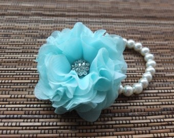 Wrist Corsage, Chiffon Flower Corsage (Turquoise / Light Blue), Chiffon Rose corsage, Light Blue Corsage