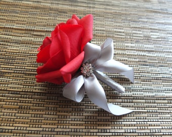 Red Rose and Silver Grey Ribbon Boutonniere, Red and silver gray Boutonniere with rhinestone accent