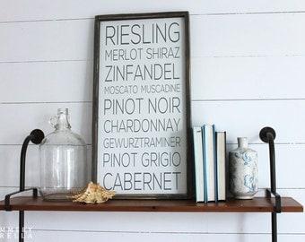 Wine List Wood Sign, Housewarming Gift, Contemporary, Country Decor, Farmhouse Decor
