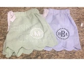 Monogrammed Seersucker Scalloped Shorts, Striped Shorts, Lounge Shorts, Bride Gift, Pajama Shorts