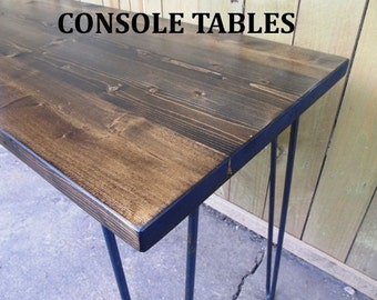 Console table, Hall table, Sofa table, hairpin legs OR straight rod legs, reclaimed wood, made to order