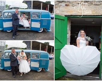 Ivory Wedding Umbrella - Love Heart Shaped. Perfect for wedding photographs - bride, groom, bridal party, wedding party, bridesmaid, maid