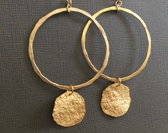 Large Hoop Earrings, Gold earrings, Large circle hoop earrings, double tier gold circle earrings, gold disc earrings