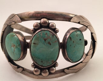 Vintage Navajo sterling Turquoise Cuff