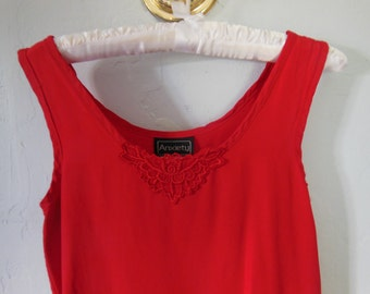 90s Red Tank Top with Lace Detail