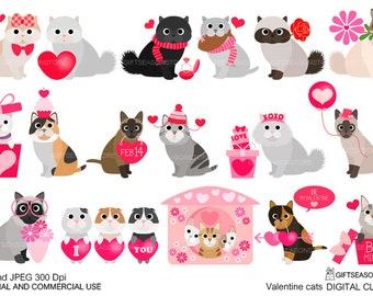 Valentine cats digital clip art for Personal and Commercial use - INSTANT DOWNLOAD