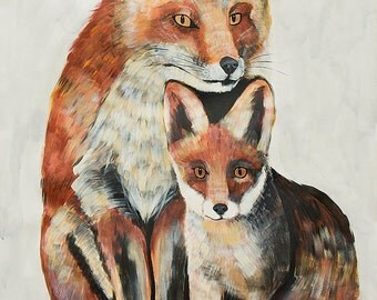 "38""x50"" Fox and kit Large scale PRINT of original painting by Natalie Wright"