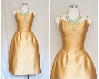 1950s Vintage   Goldenrod Yellow Satin Princess Tea Dress with Crinoline Petticoat   Size Medium