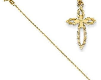 14k Cross Cut-out Pendant with 14k Chain [24]