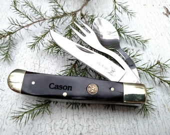 Camping Knife, Army Knife, Boy Scout Knife, Hobo Knife, Survival Knife, Pocket Knife, Utensil Knife, Swiss Army Knife, Fork Knife Spoon
