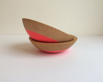 "6"" strawberry inspired beech wood snack bowl set of 2, by Willful"