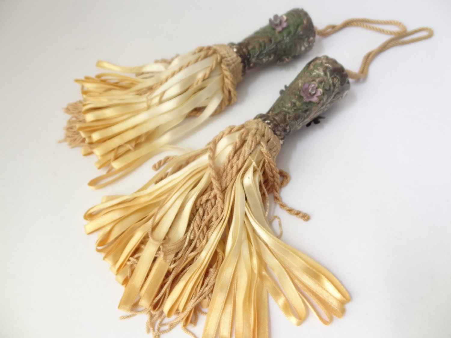Curtains Ideas curtains 95 inches long : Vintage tassels set pair two 2 golden yellow by VintageBettyLuke