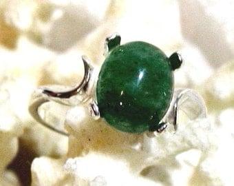 ON SALE 10x8 Green Adventurine Ring, Dark Green Adventurine Ring 925 Solid Sterling Silver Size 7, 8