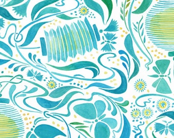 In the Beginning Fabrics Luminaria Tonal Lanterns Blue & Green Design by Julie Paschkis Quilting Crafting Sewing 100% Cotton