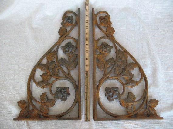 Pair Of Rusty Rose And Leaf Iron Shelf Brackets Corbels