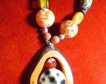 Hand Crafted in USA Orange and Brown Necklace with Natural Materials and Semi Precious Stones
