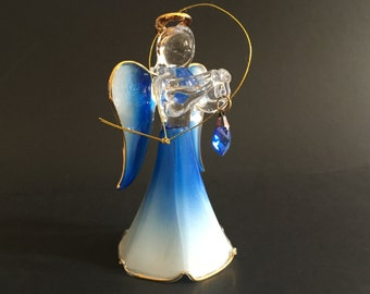 Glass Angel Bell Ornament Christmas