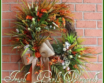 MADE TO ORDER Irish Summer Coastal Wreath, Rustic Fall Beach Wreath, rustic Floral, Coast of Dingle Ireland Wreath