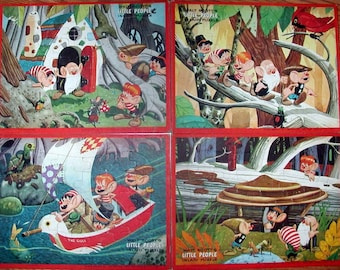 4 Unused 1950s Jaymar Puzzles, Set of 4 Little People Puzzles, Frame Tray Puzzles by Walt Scott, Nursery Decor