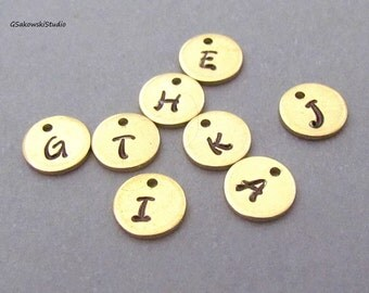 Add on brass hand stamped initial coin disc charm