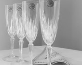 Vintage Crystal Champagne Flutes Glasses  Set of Four Austria de Flanders