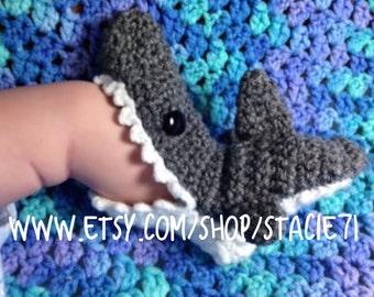 Crocheted Infant Baby Shark Socks **MADE TO ORDER**
