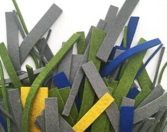 Destash - Wool Design Felt Offcuts - Scraps of thick wool felt - 3mm multicolored wool felt pieces