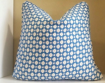 Schumacher Celerie Kemble Betwixt Water/Natural pillow cover with or without welt edge, select your size during checkout