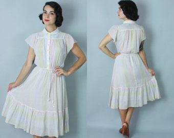 1970s Buttermints dress | vintage 70s multicolor pastel shirtwaist dress with self tie belt | small