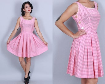 1960s GINGHAM Cotton Dress | Vintage 50s 60s Sundress with Button Details | xs