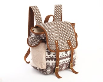 Easy-going Scout Backpack/ Brown Handspun Cotton, Navajo Woven Stripe Fabric / Rustic Book Bag, Casual Backpack
