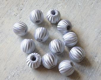 Silver fabric beads - 15 pcs., 14mm silver beads, Christmas beads, festive beads, wedding decorations, geometric beads, wide hole beads - 15