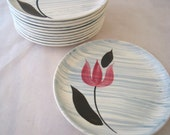 11 Stetson Pink Tulip with Gray Stripes Bread Plates Set of 11 Vintage 1950s