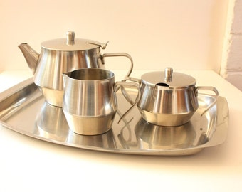 Gibsons and Paterson Hostess Stainless Steel Tea Service 4 pieces