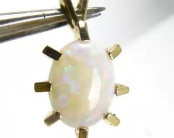 14K Mid Century Modern Starburst Atomic Opal Pendant Yellow Gold Oval Prong Set Unique Gift October Birthday