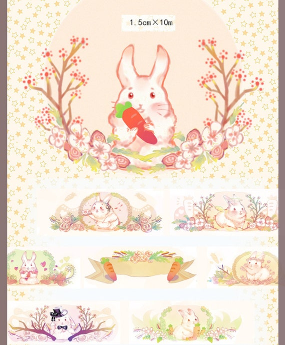 1 Roll Limited Edition Washi Tape: Cutest Bunnies