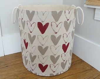 "Extra Large Heart Fabric Storage Hamper, Laundry Basket, Fabric Organizer, Toy Nursery Basket, Storage Bin - Scandinavian Fabric  20"" Tall"