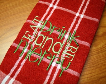 Eat Drink and Be Merry Red Dish Towel