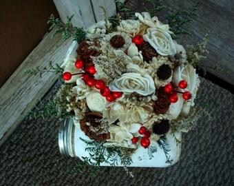 Winter bridal bouquet sola bridal bouquet Christmas wedding winter wedding rustic wedding bridal bouquet wedding bouquet keepsake bouquet
