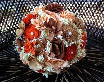 rustic sola bridal bouquet | wedding bouquet | sola flowers | Fall wedding | alternative bouquet | keepsake bouquet | sola flowers