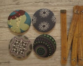 4 Extra Large Fabric Buttons - Size 75 ( 1 7/8inch- 48mm) - Covered buttons - Grey buttons - Sewing buttons-