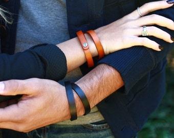 Genuine Leather Band Cuff Bracelet 1.5 cm Narrow Black Brown Tan Red, Real Leather Double Wrap Bracelet Men Women Thin Plain Cuff B072-PL