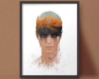 Furiosa Portrait Art Print Mad Max Fury Road Post Apocalytic Design
