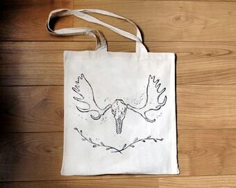 Moose skull - linocut tote bag